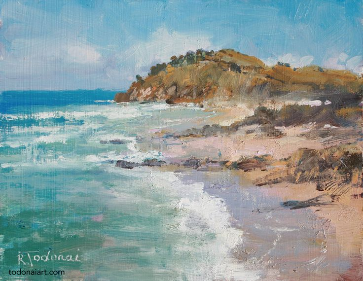 The freshness of breakers and light on wet sand! Oil sketch at Cabarita Beach.