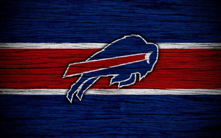Herunterladen hintergrundbild buffalo bills, nfl, 4k, holz-textur, american football, logo, emblem, buffalo, new york, usa, der national football league, amerikanische konferenz