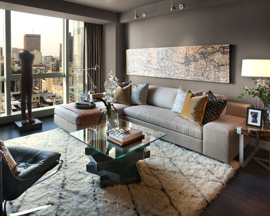 brown and gra modern rooms   Soundproofing Apartment For Modern Family Room  And Cool Long Mod. 7 best Narrow rooms images on Pinterest