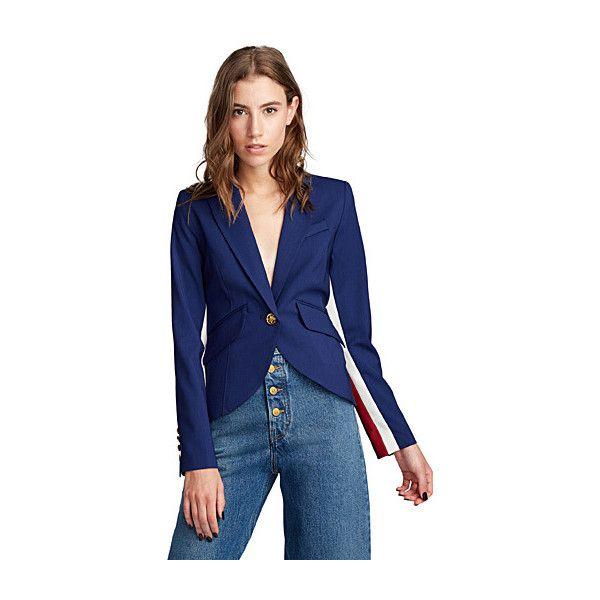 Smythe Racing stripe cobalt blazer ($535) ❤ liked on Polyvore featuring outerwear, jackets, blazers, fitted blazer, stripe blazer, peaked lapel blazer, striped blazer and striped jacket
