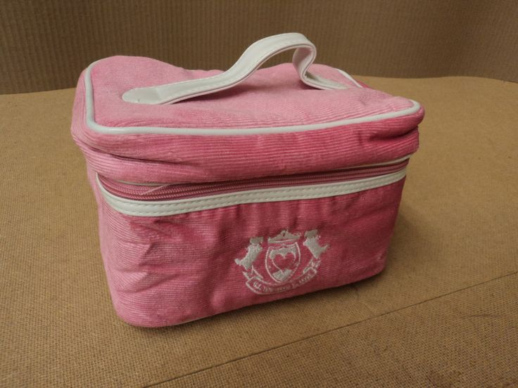 Designer Cosmetic Bag 6in D x 9in W x 6in H Corderoy Female Adult Pink Solid -- Preowned
