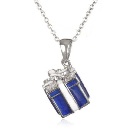 """Blue Enamel Gift Box Pendant-18"""" CHELINE. $39.00"""