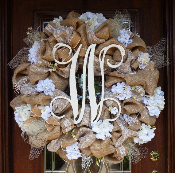 "30"" BURLAP WEDDING Wreath with INITIAL"