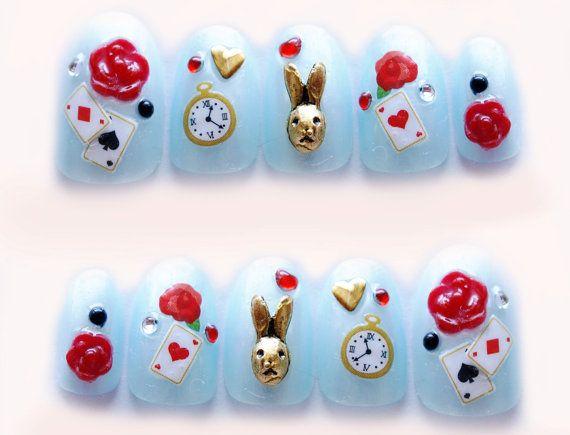 Alice in wonderland, fake nails, kawaii nails, 3D nails, false nail, bunny, rose, blue, Japanese nail    Japanese handmade nail art by me (^3^)/  Im a