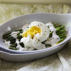 poached egg on roasted asparagus with a creamy, yet healthy, mustard ...