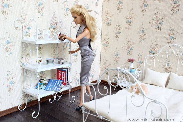 Table with mirror shabby furniture for dolls blythe barbie momoko - Doll Miniature Bookcase French Style In 1 6 Scale Blythe