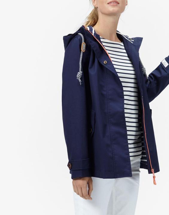 Coast French Navy Waterproof Hooded Jacket | Joules UK