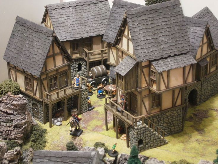 Here We Have A Village Made With CastleArts Medieval Buildings. This  Buildings Are Sold As A Resin (upper Floors And Roofs) And Hard Plas.