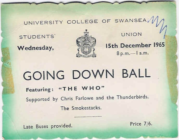 The Who play Swansea University's 'Going Down Ball', December 1965 (pic via http://www.whocollection.com/1964-1966.htm)
