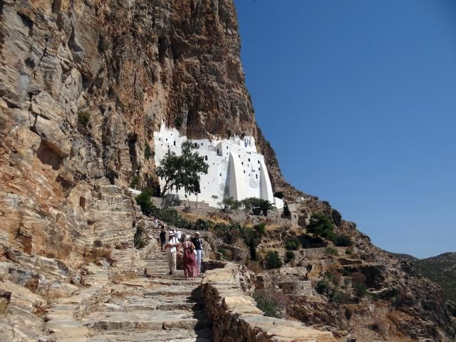 Things to do with a day on Amorgos, a small Greek island whose most important attraction is the cliffside Monastery of Hozoviotissa