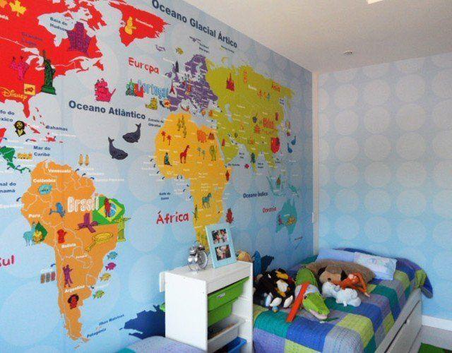 adesivo de parede mapa mundi colorido                                                                                                                                                                                 Mais