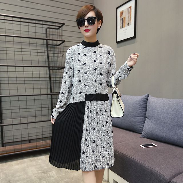 2016 spring and autumn long sleeve fashion chiffon pleated dress maternity Korean style grey with stars printed patchwork dress