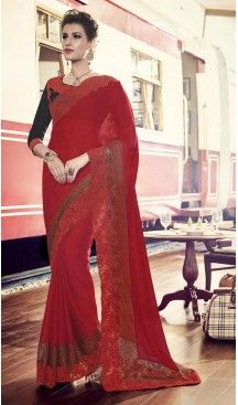 Chiffon Satin Fabric Red Color Embroidered Party Wear Saris   FH512778055  #party , #wear, #saree, #saris, #indian, #festive, #fashion, #online, #shopping, #designer, #usa, #henna, #boutique, #heenastyle, #style, #traditional, #wedding, #bridel, #casual, @heenastyle , #blouse, #prestiched, #readymade, #stitched , #Georgette , #embroidery