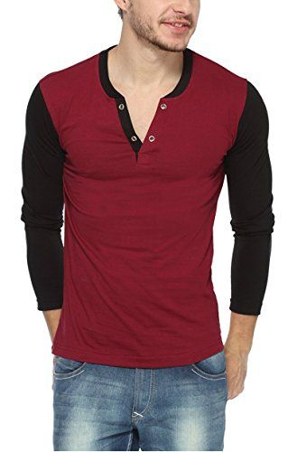 PepperCub Men's Henley Vneck Full Sleeve T-shirt - Maroon - http://weddingcollections.co.in/product/peppercub-mens-henley-vneck-full-sleeve-t-shirt-maroon/