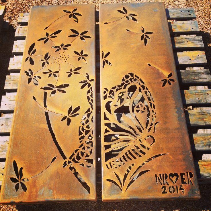 Double panel featuring dandelion and butterflies. Handcut in 3mm corten  steel using a plasma cutter
