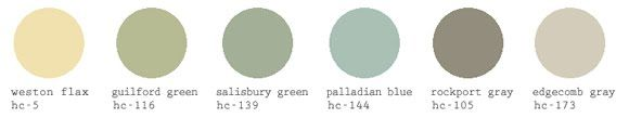 I love this paint color palette for the house. Beautiful! Benjamin Moore paints. I should choose a set of colors for our house so there is nice flow.