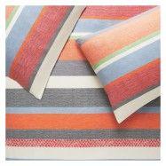 Multi-coloured striped jacquard double duvet cover set