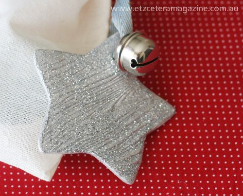 Textured silver glitter star made from paper clay - a tutorial on the Etzcetera blog.