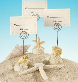 seashell motif place card holder with matching place card beach themed