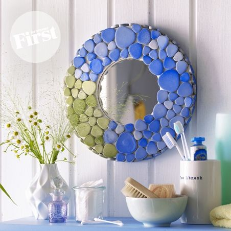 Modern Mosaic Frame ~ I love this! Now I just gotta find 60 or so flat river rocks. ~ | First for Women