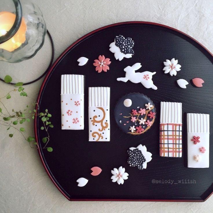 ◆夜桜とうさぎのアイシングクッキー◆