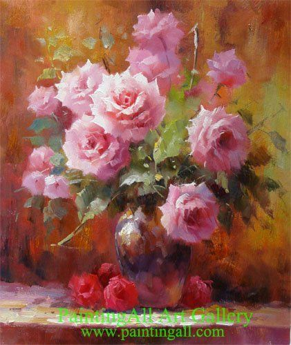 Famous Flower Paintings | Floral Still Life: Roses in a Vase - Flower Painting in Stock for Sale