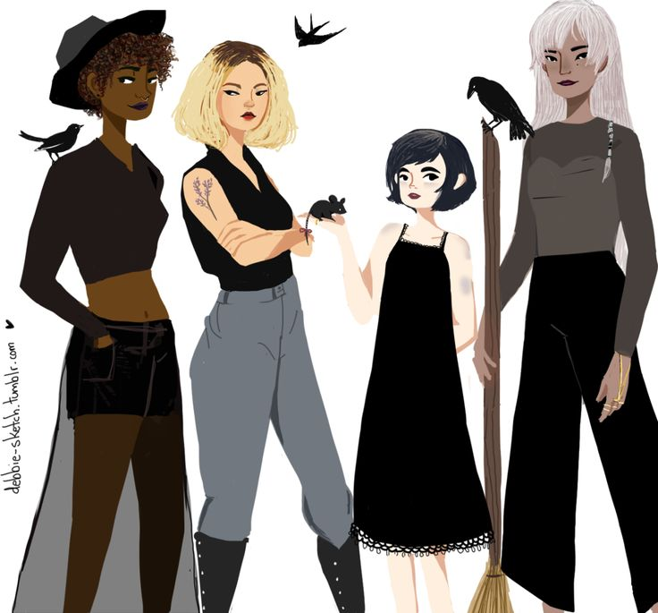 debbie-sketch:  Modern witch squad. They work with black magic and love fashion in their own way.  The other girls are here.