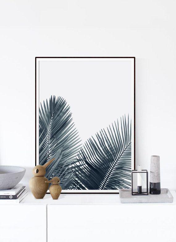 Blad afdrukken, botanische Print, Palm Decor, kunst, kunst Plant, trend laat afdrukken, blad afdrukken, Tropic kunst, grijze Palm Print, Noordse Print