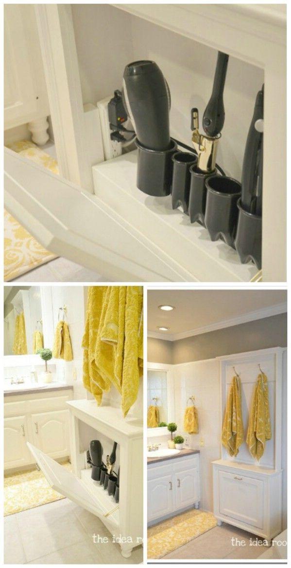 30 Brilliant Bathroom Organization and Storage DIY Solutions Shown: DIY Hair Tool Storage Cabinet