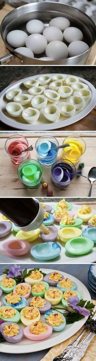 deviled eggs with a festive easter twist!