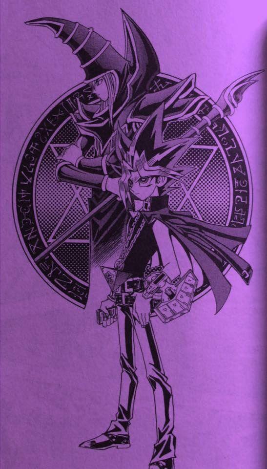 A Purple-Lit Edited Page Of Yugi & Dark Magician (From The Yu-Gi-Oh! Manga). #yugioh #manga #battlecity #purple #lit #yugimutou #yamiyugi #dark #spellcaster #darkmagician