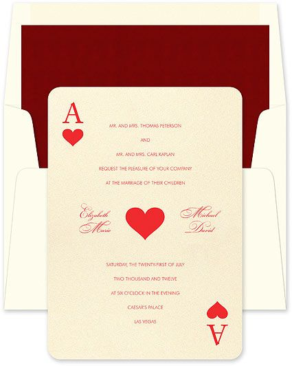 Windfall - This whimsical ensemble plays right into your hand! The ace of hearts is printed on the invitation in a classic playing card style. Accessories feature both the ace of hearts and the ace of spades.