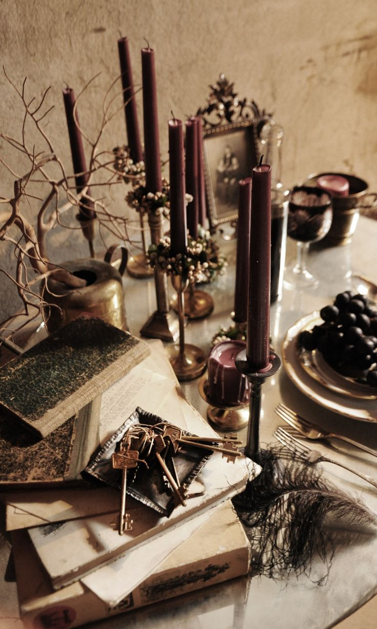 Fall tablescape inspired by the dark romance of Crimson Peak.