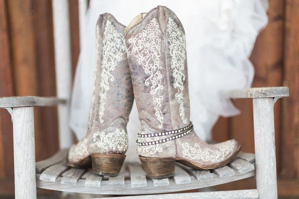 Rustic, southern country wedding bridal shoe idea - white cowboy boots! {Frozen Exposure Photography + Videography}