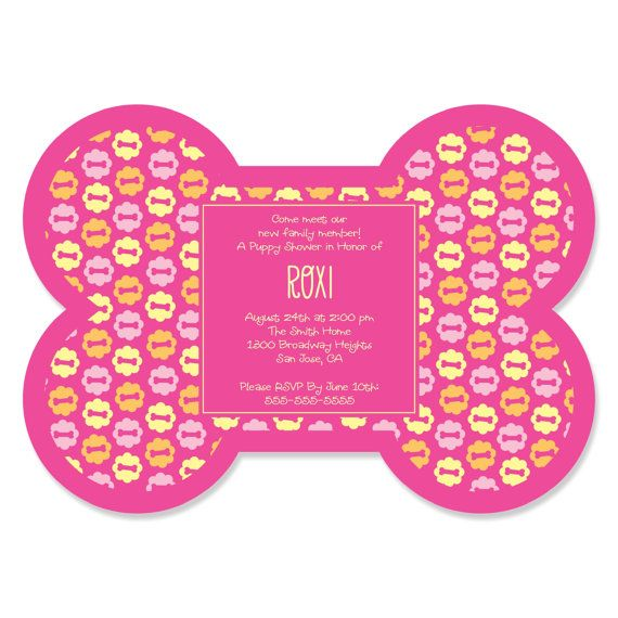 Gather the hounds and your 2-legged friends for a barking good time when you use Pink Girl Puppy Party Invitations. These bone-shaped invites