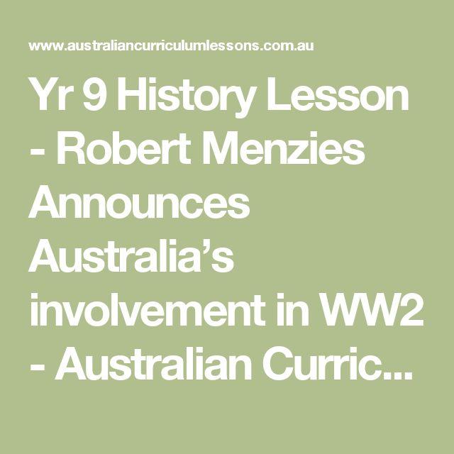 Yr 9 History Lesson - Robert Menzies Announces Australia's involvement in WW2 - Australian Curriculum Lessons