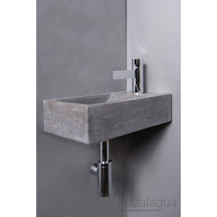 Forzalaqua Venetie fontein 40x22x10cm hardsteen rechts - 100074 - Sanitairwinkel.nl