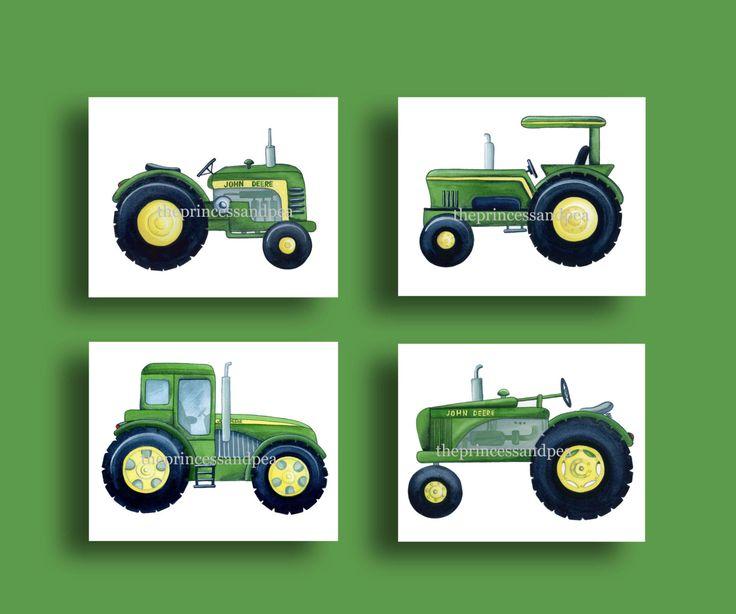 john deere tractor art tractor nursery kids art blue green boys art by theprincessandpea