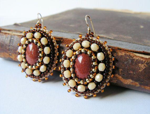 Brown Beige Earrings Gold stone Earrings Beadwork earrings Bead embroidery jewelry Brown Beige MADE TO ORDER