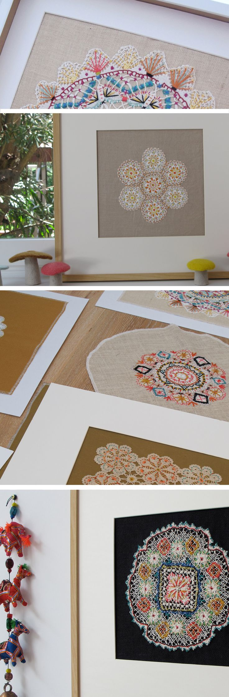 Antique doilies are painstakingly hand embroidered with vintage British and Dutch threads, mounted to hessian, antique linen and vintage silks.