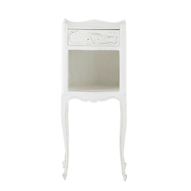 Table de chevet avec tiroir en manguier blanche L 30 cm Médicis