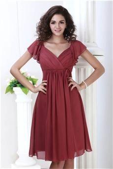 Perfecto Vestido de Dama de Honor Cintura Imperio Cuello en V Rodilla-Largo Roxy's