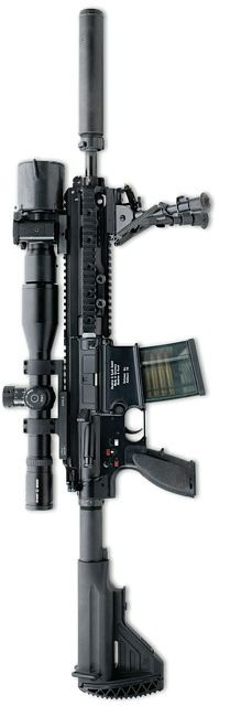 Heckler Koch HK417 - designated marksman rifle = increased accuracy, penetrative power and effective range
