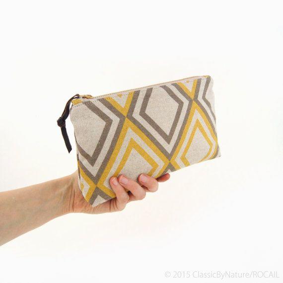 Mustard Yellow and Grey Geometric zipper pouch by ClassicByNature