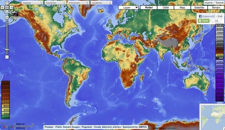 MAPS-FOR-FREE:  Jedinečná mapa sveta s vrstvami, ktoré v Google maps ani iných mapách nenájdete. Prehľadne vyobrazený zemský povrch, možnosť zapínania a vypínania vrstiev, ako napr. vodstvo, mestá, hranice, typy krajín apod. Pre školské potreby snáď najlepšia mapa na nete!: