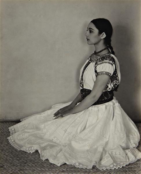Edward Weston - Cholula Costume, 1926  The dancer and choreographer Rosa Covarrubias in native Mexican attire.