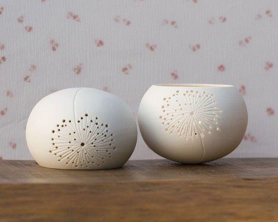 dandelion carve lantern tea light pottery ceramics clay