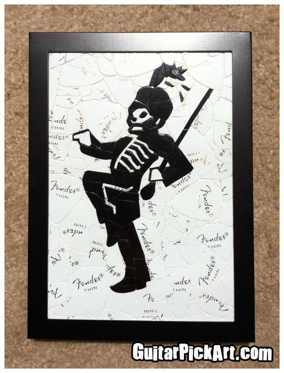 "My Chemical Romance ""The Black Parade"" Marching Band Guitar Pick Art made out of guitar picks"