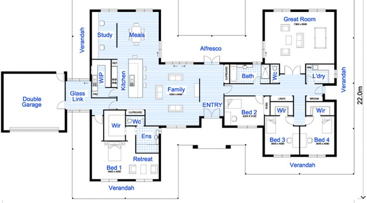 Hello! It's time for another floor plan… today I have this 4 bedroom home which I thought you'd like. The front elevation looks good and would suit a wide block where the garage is out of the way. I like how the entry flows straight through to the back of the house. I also like …