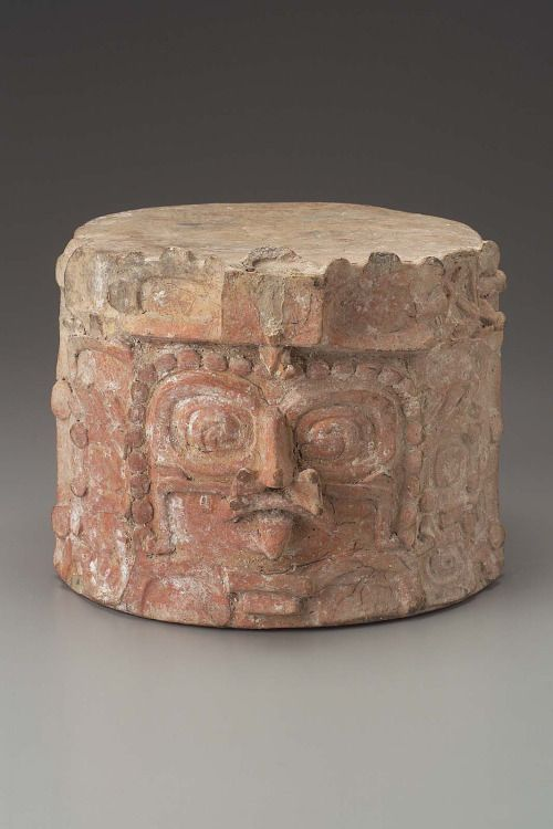 "tlatollotl: "" Cache vessel lid Maya Early Classic Period A.D. 400–550 Object Place: Department of El Petén, Guatemala The front of this cache vessel lid is decorated with the face of a supernatural with scroll eyes and a sting ray spine as a front..."